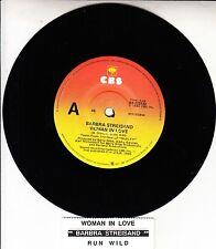 "BARBRA STREISAND  Woman In Love 7"" 45 rpm vinyl record + juke box title strip"