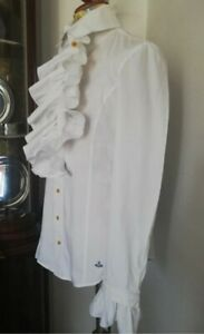 Camicia Vivienne Westwood man shirt orb vintage pirate rouches jabot words end