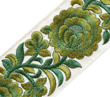 "Shades of Green. Wide, Parsi Satin Stitch, Embroidered Trim. 3 Yards & 3"" Wide"