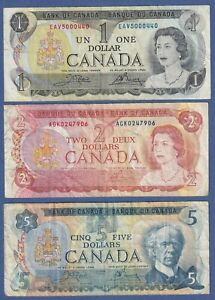 Canada Multicolor Series - $1 (73), $2 (74) & $5 (79) -3 Circulated Notes L1