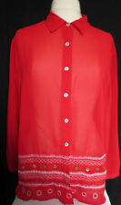 """Blast womens lovely sheer red button up shirt,blouse,size Large,measures 44"""" bst"""