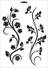 Wandschablone Maler T-shirt Schablone W-066 Floral ~ UMR Design