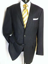Luxury Gianluca Isaia Midnight Blue Striped 3Button Suit jacket size 46L