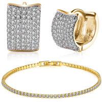 Lab Created Ruby Cubic Zirconia CZ Hoops Earrings Tennis Bracelet 7'' Set