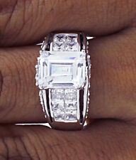 4.85Ct Emerald Cut & Invisible Set Bridge Engagement Ring 6.25