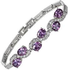 Melina Jewelry Rhinestone Oval Cut Purple Amethyst Tennis Statement Bracelet
