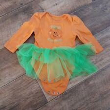 George 9-12 Months Orange Green Long Sleeve Tutu Sequin Pumpkin Halloween Outfit
