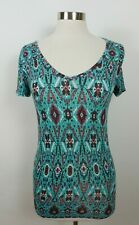 Mudd Womens Juniors Stretch Rayon SS V Neck Teal Red Abstract Blouse T Shirt S