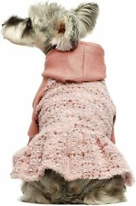 Fitwarm Fuzzy Velvet Dog Winter Clothes Dog Girl Hoodie Dresses Thermal Sweater