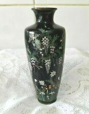 More details for stunning quality japanese cloisonne vase 18.5cm w birds flora on black ground