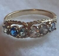 10kt gold multiple sapphire colored  gemstone  band ring