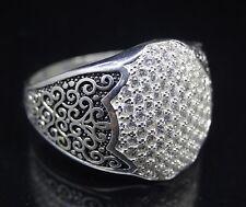 Turkish Handmade 925 sterling silver Zircon Men's Ring Sz 11 us  Free Rsz #1068