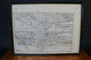 The South Coast Railway Map Portsmouth to Brighton & Hastings Weller 1863 Framed