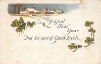 """Vintage """"A Glad New Year Good Luck"""" 1924 Postcard"""