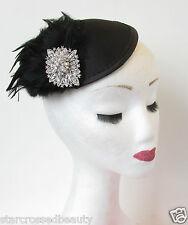 Noir Argent Fascinator à plumes coiffe Pince cheveux courses vintage années 40