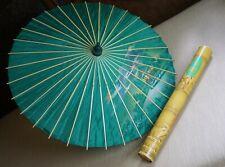 Vintage Asian Green Parasol Umbrella Hand-Painted Floral Silk Bamboo w Orig Tube