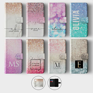 Tirita Personalised Wallet Flip Case for iPhone 12 11 SE 8 Ombre Faded Glitter