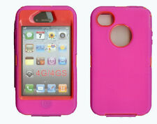 Built in Screen Protector Case / Cover IPHONE 4, 4S  HOT PINK / RED