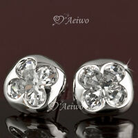18k white gold gf made with swarovski crystal stud flower fashion earrings