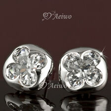 EARRINGS STUD 9K GF 9CT WHITE GOLD MADE WITH SWAROVSKI CRYSTAL