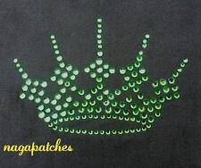 Motif à floquer / Transfert strass thermocollant couronne royale verte