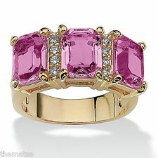 WOMENS 14K GOLD EMERALD CUT ALEXANDRITE JUNE BIRTHSTONE RING SIZE 5 6 7 8 9 10