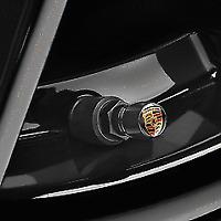 Set New Genuine Porsche Colour Black Crested Valve Dust Caps TPMS #99104460267