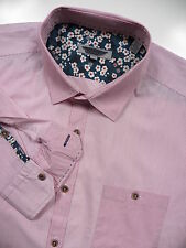 TED BAKER LONDON NWOT MENS 5 XL CASUAL SPORT SHIRT STYLISH RED PIN STRIPE FLORAL
