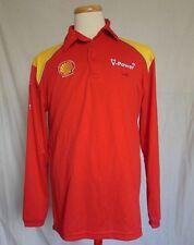 Shell Ferrari Scuderia Mens Polo Golf Shirt Medium Red V-Power Long Sleeves  F1 dc0ce2ef40f