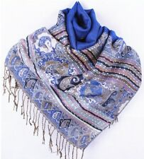 Paisley Scarf Teal Fringed Scarf Light Blue