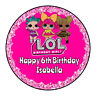 Personalised LOL Dolls Thank You Stickers Party Sweet Cone Birthday Cake Boxes