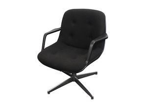 70s Mid Century Modern MCM United Chair Swivel Office Chair Recline Black UAW GM