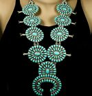 Dead Pawn Navajo Handmade Sterling Petit Point Turquoise SQUASH BLOSSOM Necklace