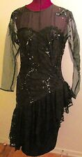 Vintage 1970s DAVE & JOHNNY by JOSEPH LARA black fancy dress size 9/10 36-32-40