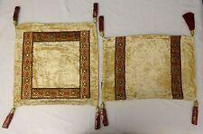 Luxury Decorative Metallic Lace Beige Velvet Pillow 2 Set w tassels.