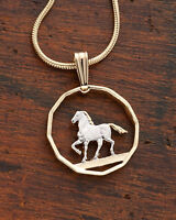 "Horse Pendant & Necklace South American Coin Hand Cut 5/8"" diam. ( # 300 )"