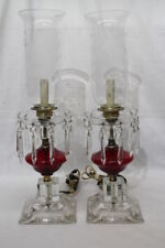 Pair of 1940's Ruy Lamp w/Crystal Prisms Electric Hurricane Table Lamps