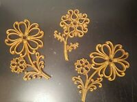 Vintage Homco Flower Wall Decor MCM 1978 Faux Wood Wicker  Rattan Set of 3     C