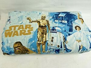 Vintage 1977 Star Wars Comforter Bedspread Pale Blue Darth Vader Hans Solo Twin