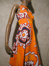 CHIC VINTAGE ROBE LONGUE HAWAIENNE 1970 VTG MAXI DRESS 70s KLEID 70er ABITO (36)