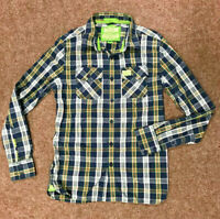 Superdry Mens Checked Shirt, Size L (fits M), Navy, Lime, VGC, Lumberjack Style