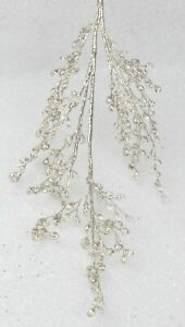 GISELA GRAHAM CHRISTMAS FLOWERS GOLD CLEAR CRYSTAL BERRY BRANCH SPRAY