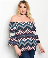 NEW..Stylish Sassy Plus Size Off the Shoulder Boho Print Top..SZ16/1XL