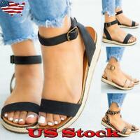 US Women Ankle Strap Buckle Espadrilles Sandals Ladies Summer Beach Flats Shoes