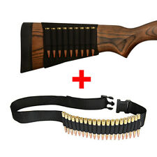Rifle Buttstock Bullet Holder + Cartridge Ammo Bandolier for .30-06 .410 .308
