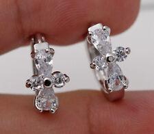 18K White Gold Filled - Zircon Cross Waterdrop Gemstone Prom Lady Hoop Earrings