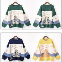 Women Knit Loose Cardigan Sweater Cute Cartoon Sheep O Neck Winter Warm Pullover