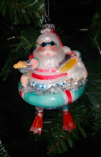 SANTA CLAUS on Vacation Ornament Swim Float Fins Holding Drink Martini & Pelican