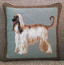 "New Afghan Hound Dog 100% Wool Petite Needlepoint Pillow 14"" Square"