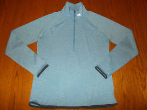 UNDER ARMOUR 1/2 ZIP LONG SLEEVE HEATHER BLUE RUNNING TOP WOMENS LARGE EXCELLENT
